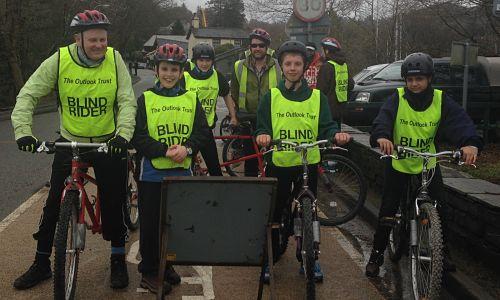 Blind & visually impaired children on bike ride